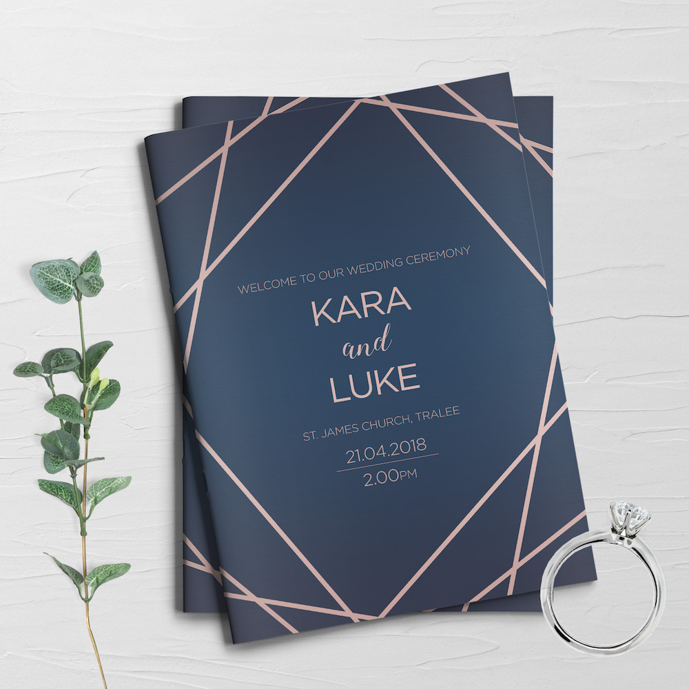 geometric wedding mass booklet