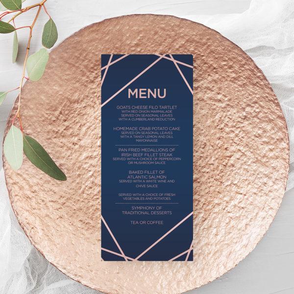 geometric wedding menu
