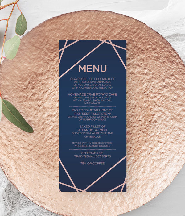 geometric wedding menu