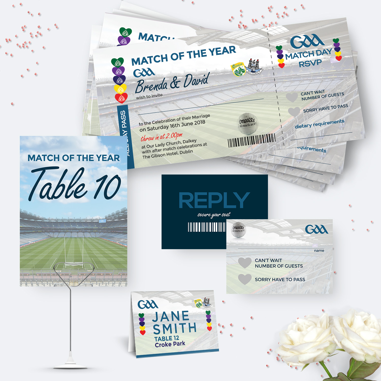 GAA Ticket Wedding Stationery