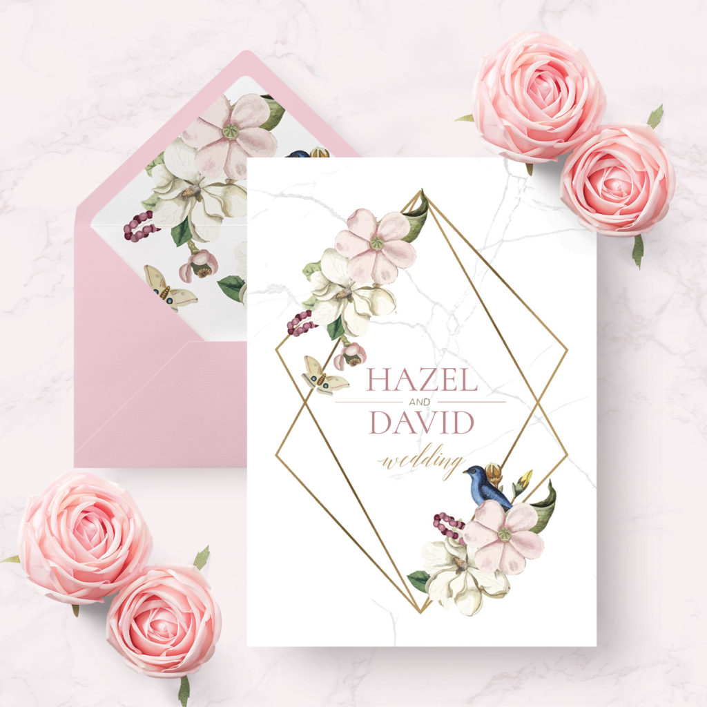 marble floral wedding invitations
