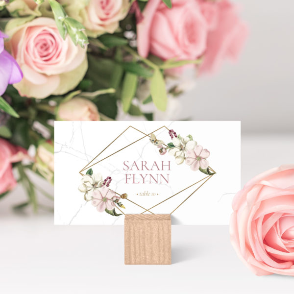 marble floral place name cards