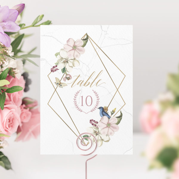 marble floral wedding table number cards