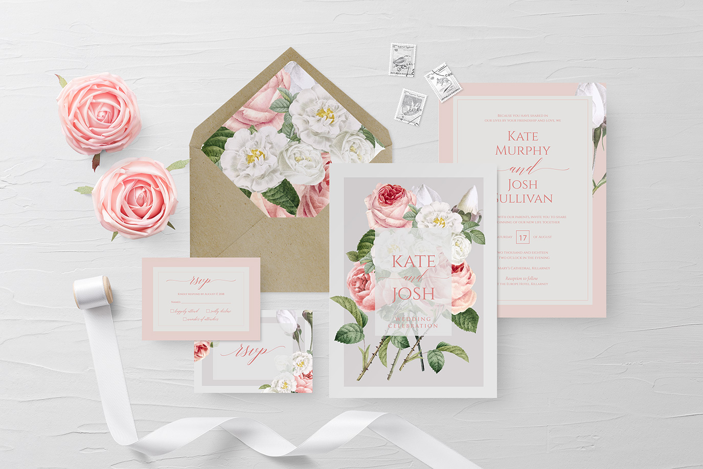 Summer floral Wedding Invitations