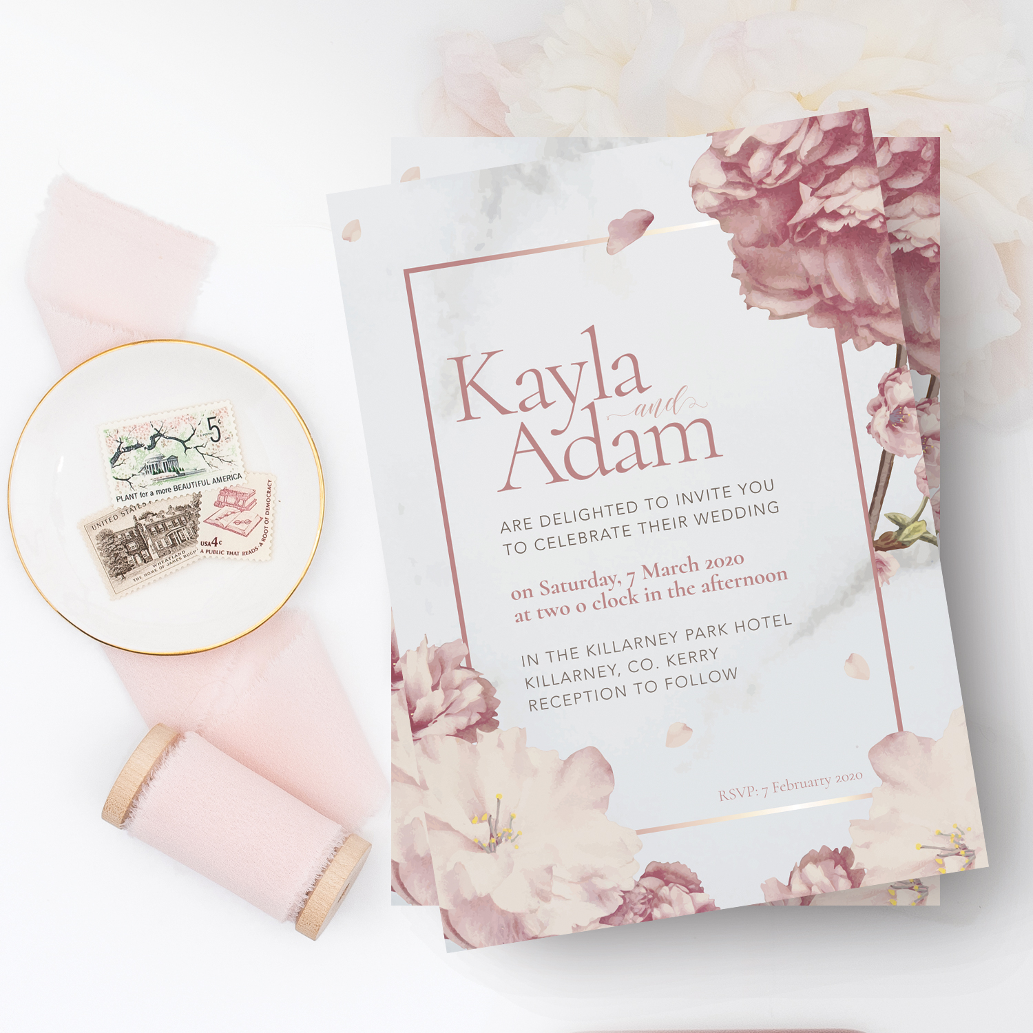 spring pink floral wedding invitation